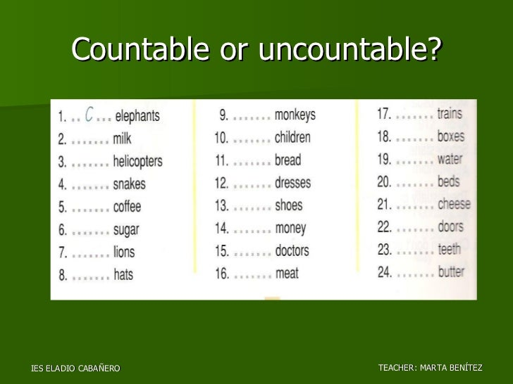 homework is countable or uncountable