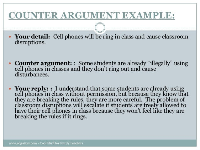 where does the counter argument go in an essay A common guideline is that students have 10% leeway to go long: if your essay is to be 2500 words, you are fairly safe going over the count by 250 words, so long as your writing is compact and your argument is good.