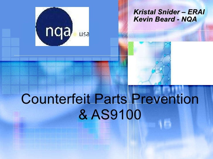 Counterfeit parts prevention   kristal snider and kevin beard