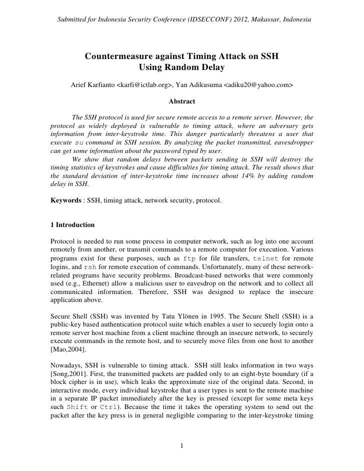 Countermeasure against Timing Attack on SSH Using Random Delay - Arief Karfianto, Yan Adikusuma