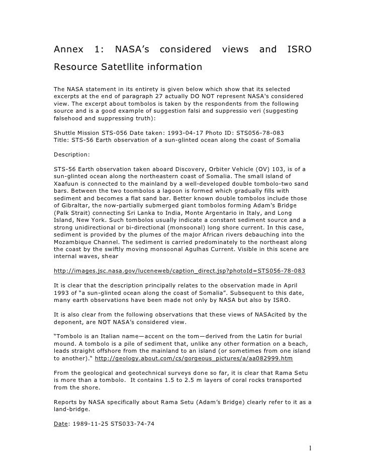 Annex          1:   NASA's         considered            views       and       ISRO Resource Satetllite information  The N...