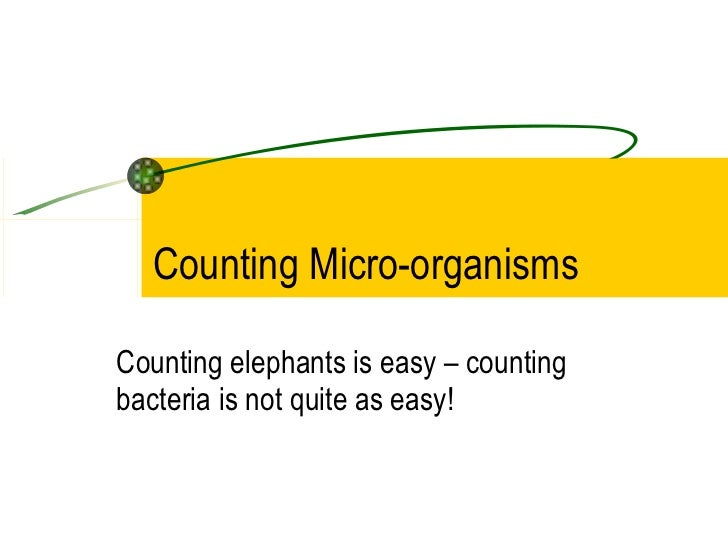 Counting Micro-organisms Counting elephants is easy – counting bacteria is not quite as easy!