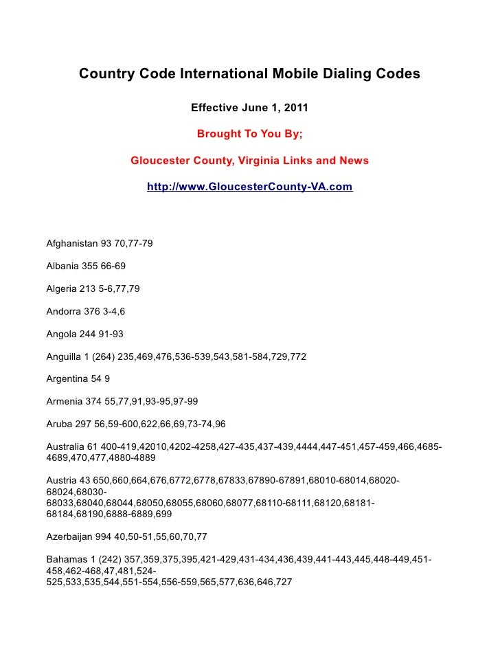 Country Code International Mobile Dialing Codes                               Effective June 1, 2011                      ...