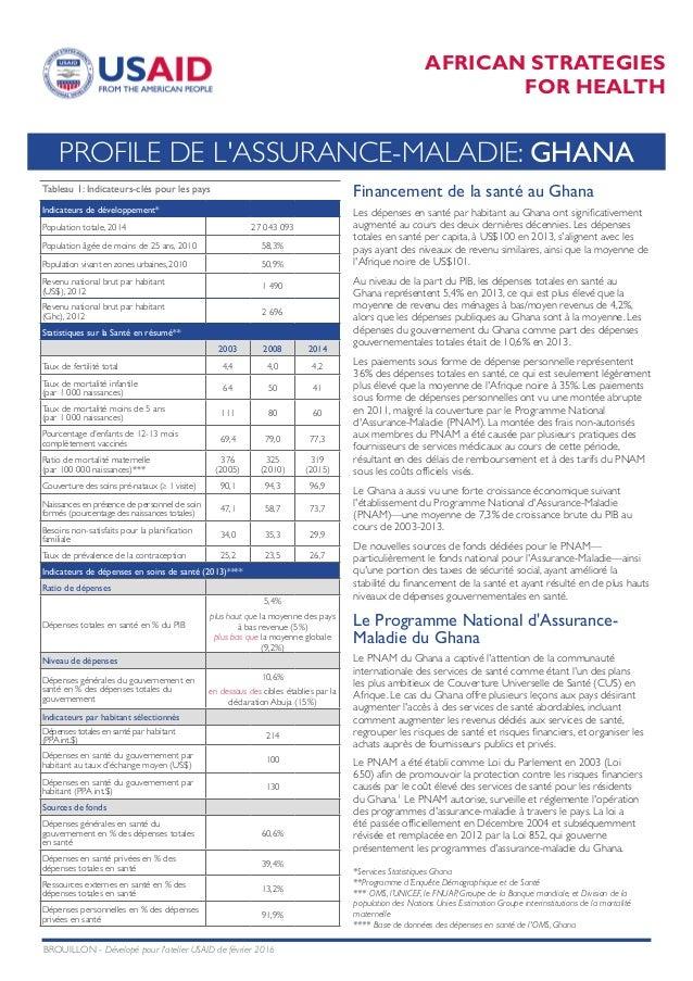 AFRICAN STRATEGIES FOR HEALTH PROFILE DE L'ASSURANCE-MALADIE: GHANA Tableau 1: Indicateurs-clés pour les pays Indicateurs ...
