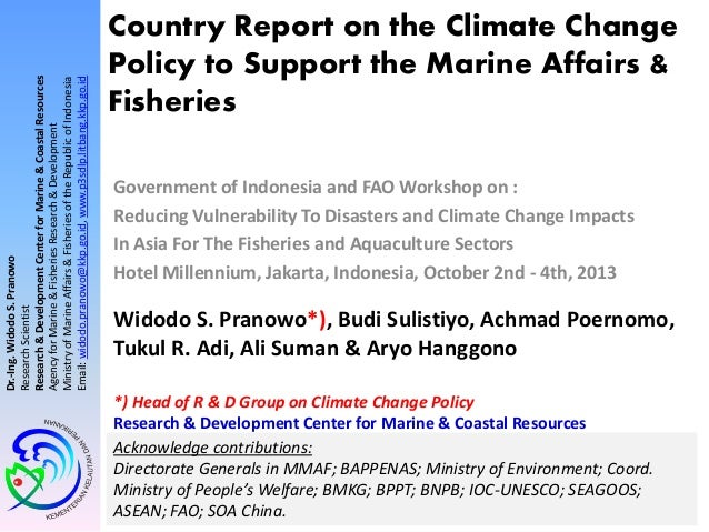 Country Report on Climate Change Policy to Support Marine Affairs & Fisheries (2013)