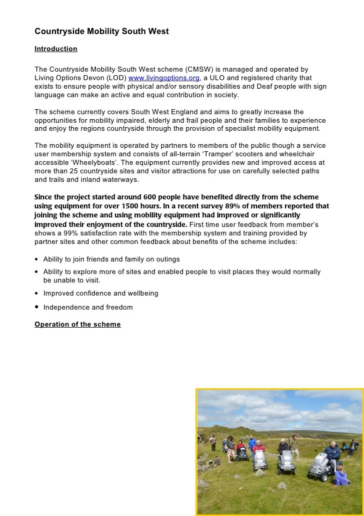 Countryside Mobility SW partnership ideas