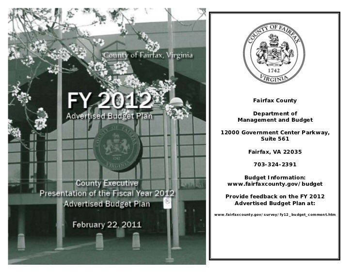 Fairfax County              Department of          Management and Budget  12000 Government Center Parkway,             Sui...