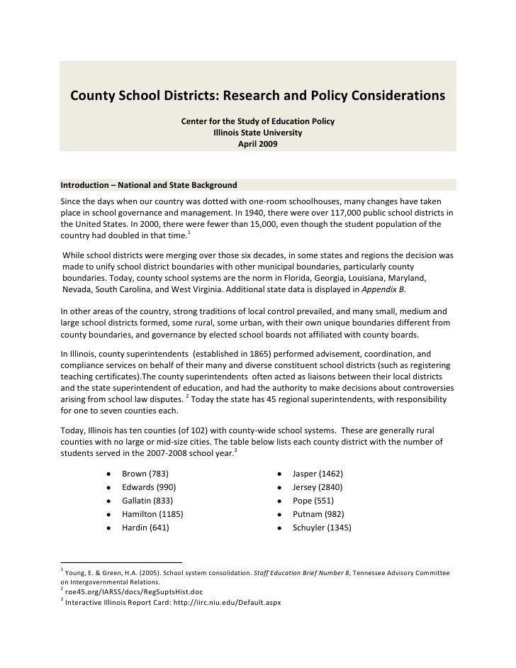 County School Districts: Research and Policy Considerations                                       Center for the Study of ...