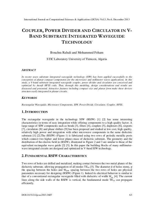 International Journal on Computational Sciences & Applications (IJCSA) Vol.3, No.6, December 2013  COUPLER, POWER DIVIDER ...