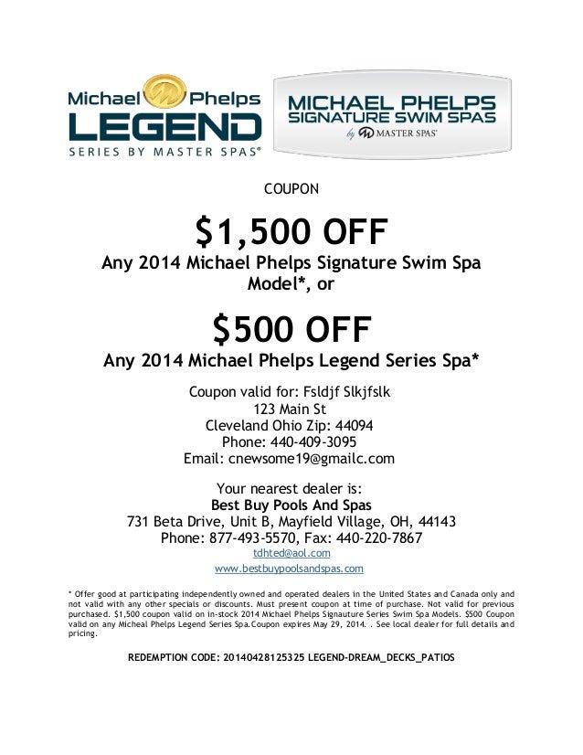 Michael Phelps Swim Spa Coupon