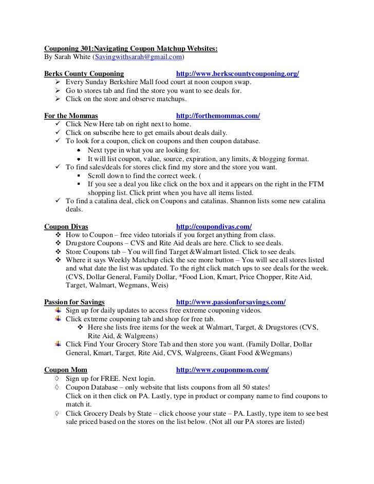 Couponing 301:Navigating Coupon Matchup Websites:By Sarah White (Savingwithsarah@gmail.com)Berks County Couponing         ...