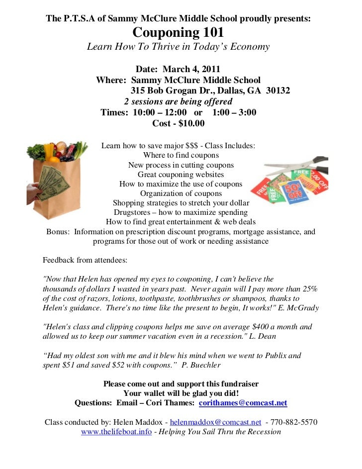 Couponing 101 - SMMS March 4, 2011