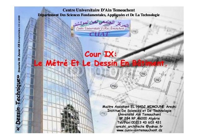 Centre Universitaire DCentre Universitaire D''Ain TemouchentAin Temouchent Département Des Sciences Fondamentales, Appliqu...