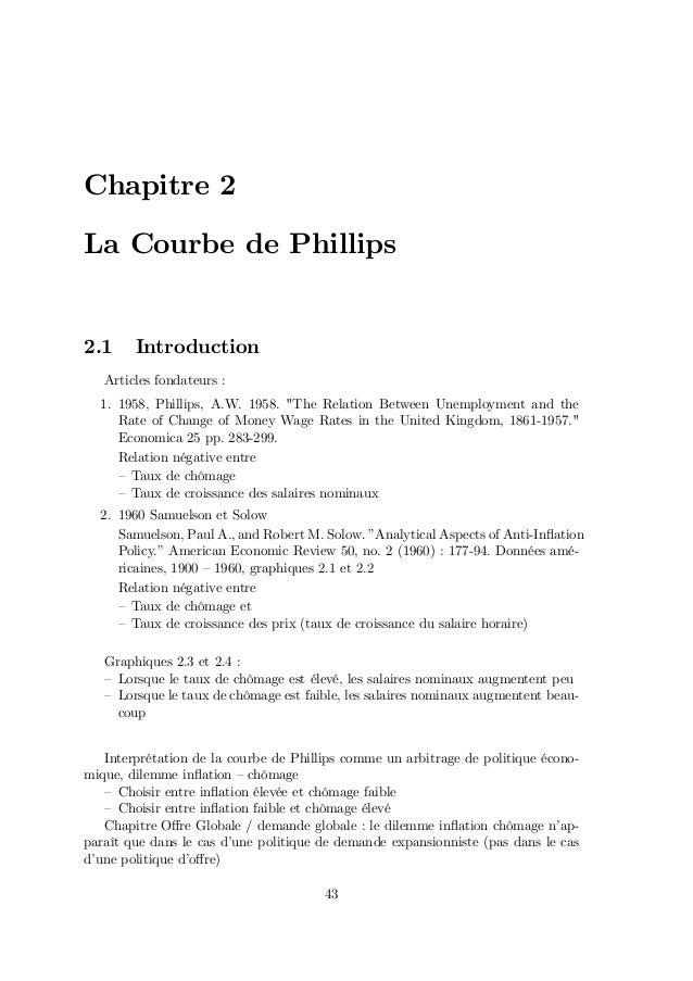 """Chapitre 2 La Courbe de Phillips 2.1 Introduction Articles fondateurs : 1. 1958, Phillips, A.W. 1958. """"The Relation Betwee..."""