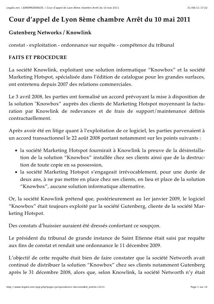 Legalis.net | JURISPRUDENCES | Cour d'appel de Lyon 8ème chambre Arrêt du 10 mai 2011   31/08/11 17:22 Cour d'appel de Lyo...