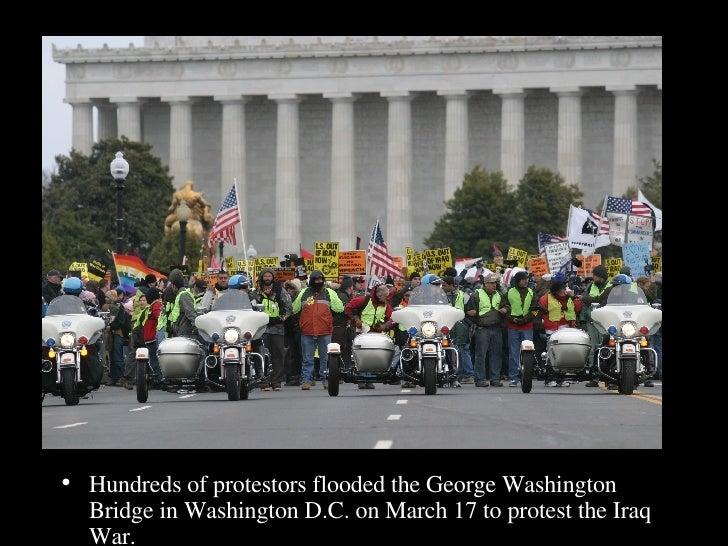 <ul><li>Hundreds of protestors flooded the George Washington Bridge in Washington D.C. on March 17 to protest the Iraq War...