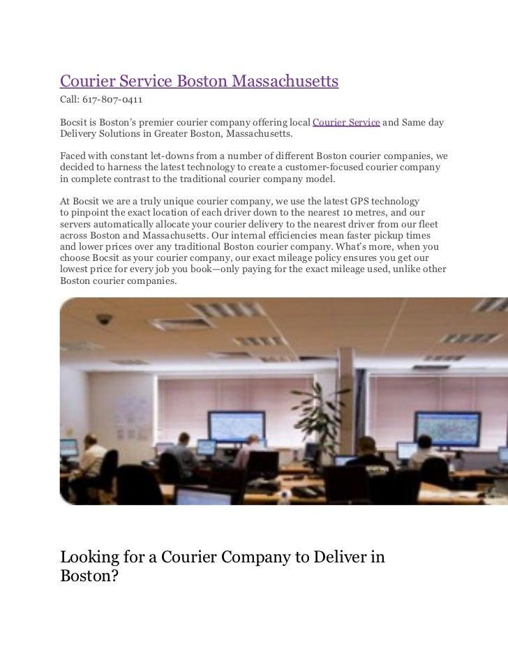 Courier Service Boston MassachusettsCall: 617-807-0411Bocsit is Boston's premier courier company offering local Courier Se...