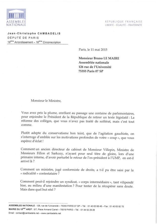 Lettre de J-C Cambadélis à Bruno Le Maire