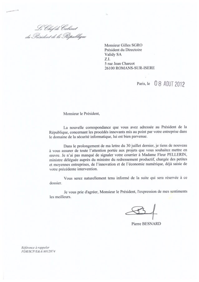 Courrier du chef de cabinet du pr sident de la r publique du 8 aout - Chef de cabinet du president de la republique ...