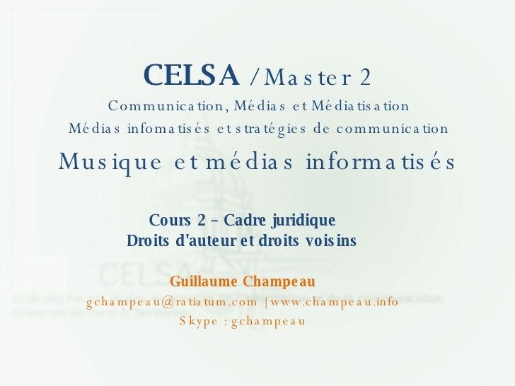 Cours 2 - CELSA - Droit D'auteur (.ppt)