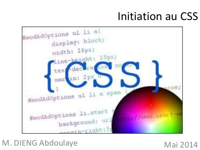 Initiation au CSS  M. DIENG Abdoulaye Mai 2014
