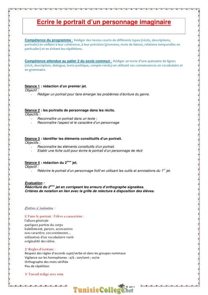 Ecrire le portrait d'un personnage imaginaireCompétence du programme : Rédiger des textes courts de différents types (réci...