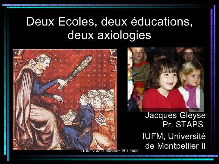 Deux Ecoles, deux éducations, deux axiologies Jacques Gleyse Pr. STAPS  IUFM, Université de Montpellier II
