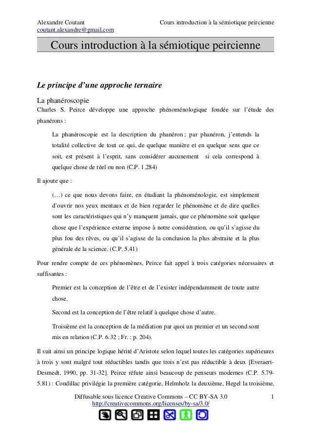 Alexandre Coutant Cours introduction à la sémiotique peirciennecoutant.alexandre@gmail.comCours introduction à la sémiotiq...