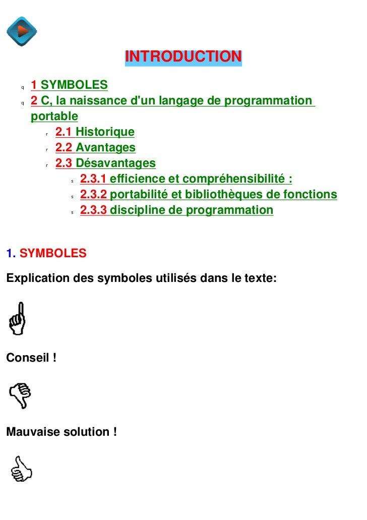 INTRODUCTION  q   1 SYMBOLES  q   2 C, la naissance dun langage de programmation      portable        r  2.1 Historique   ...