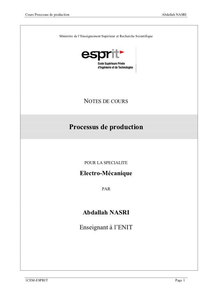 Cours Processus de production                                                           Abdallah NASRI                    ...