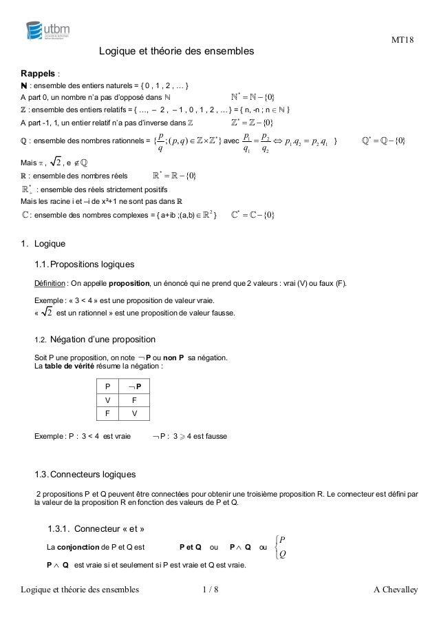MT18  Logique et théorie des ensembles 1 / 8 A Chevalley  Logique et théorie des ensembles  Rappels :  ℕ : ensemble des en...