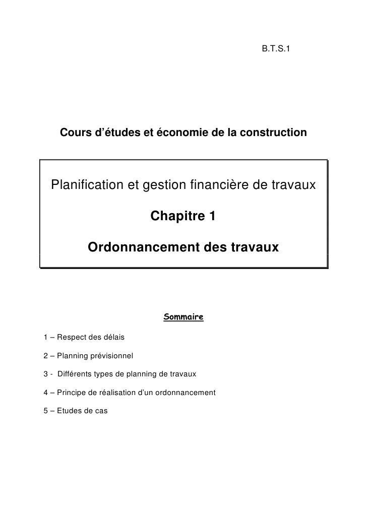 B.T.S.1    Cours d'études et économie de la construction  Planification et gestion financière de travaux                  ...
