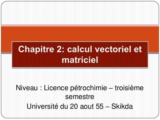 Niveau : Licence pétrochimie – troisième semestre Université du 20 aout 55 – Skikda