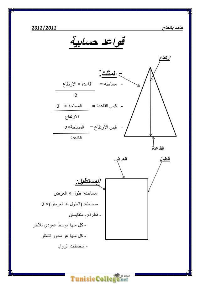 2211 |1211  حامد بالحاج  قواعد حسابية ارتفاع   المثلث:قاعدة × االرتفاع  - مساحته =  2 - قيس القاعدة =  ...