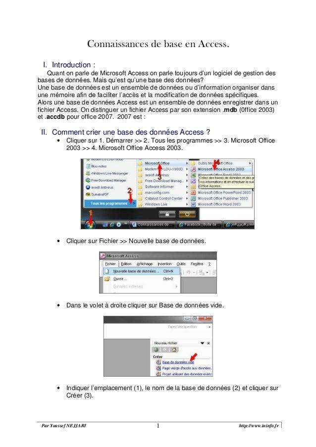 Par Youssef NEJJARI http://www.ininfo.fr1 Connaissances de base en Access. I. Introduction : Quant on parle de Microsoft A...