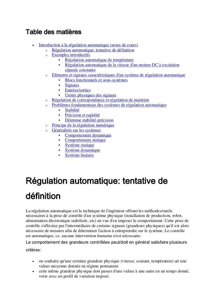 Table des matières   •   Introduction à la régulation automatique (notes de cours)           o Régulation automatique: ten...