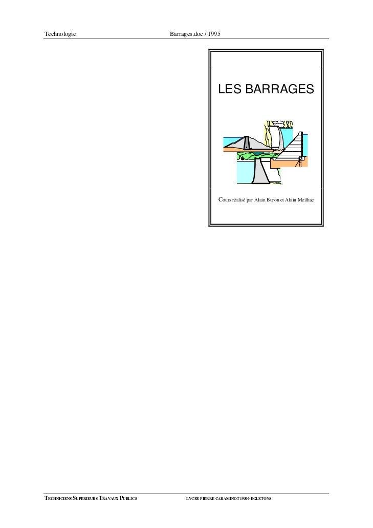Technologie                              Barrages.doc / 1995                                                            LE...