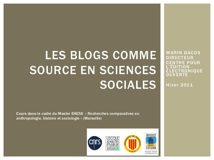 Les blogs comme source en sciences sociales