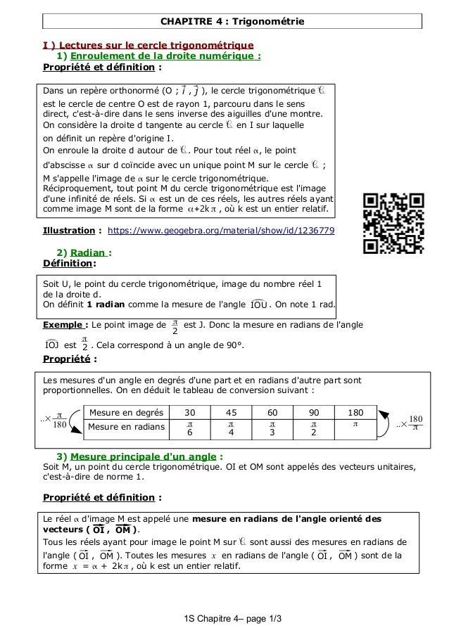 CHAPITRE 4 : Trigonométrie I ) Lectures sur le cercle trigonométrique 1) Enroulement de la droite numérique : Propriété et...