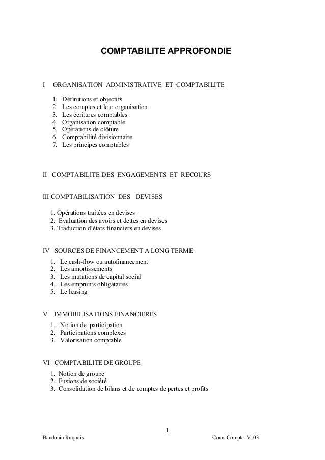 COMPTABILITE APPROFONDIEI    ORGANISATION ADMINISTRATIVE ET COMPTABILITE    1.   Définitions et objectifs    2.   Les comp...