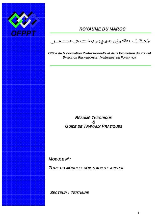 OFPPT ROYAUME DU MAROC  Office de la Formation Professionnelle et de la Promotion du Travail  MODULE N°:  TITRE DU MODULE:...