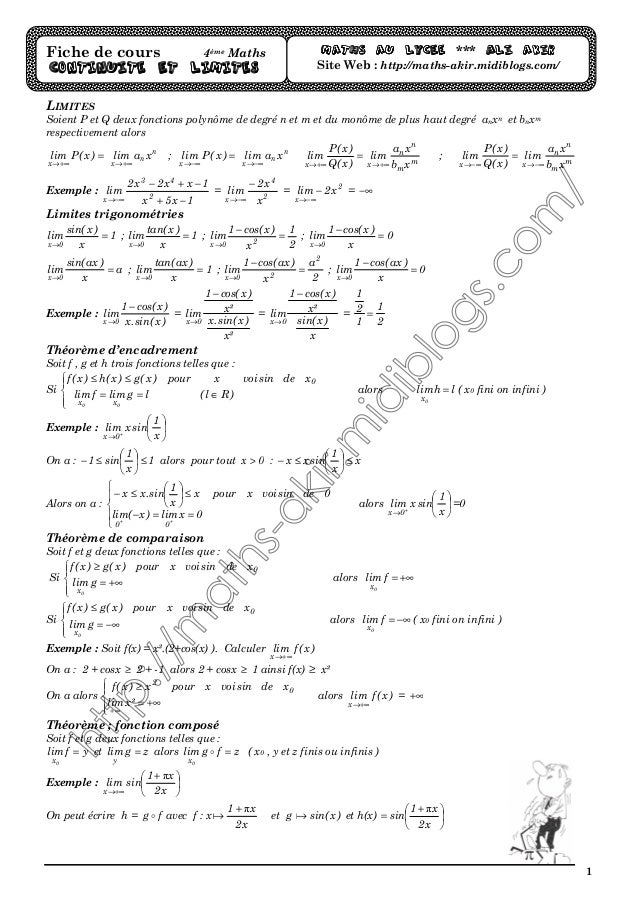 1 LIMITES Soient P et Q deux fonctions polynôme de degré n et m et du monôme de plus haut degré anxn et bnxm respectivemen...