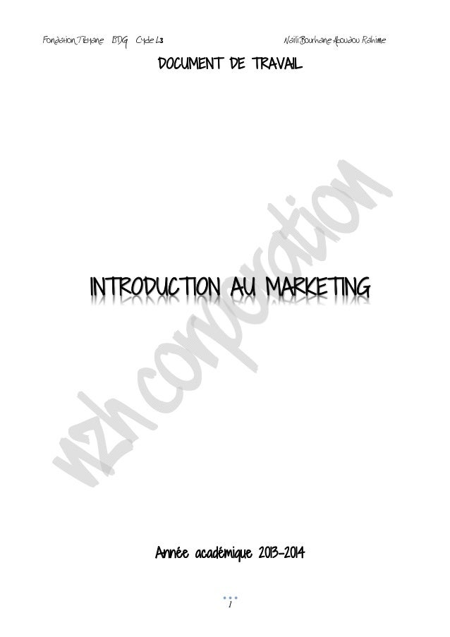 Cours d'introduction au marketing vf 2014 ISDG TIBYANE COMORES