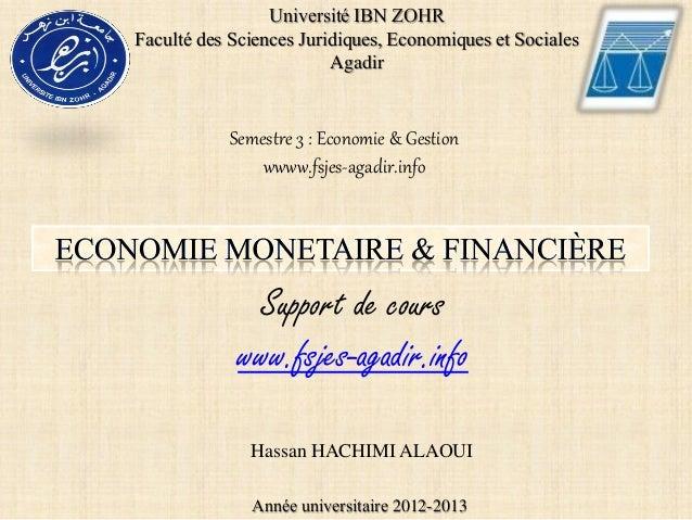 Université IBN ZOHRFaculté des Sciences Juridiques, Economiques et Sociales                         Agadir           Semes...