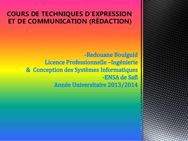 Cours de techniques d'expression et de communication (rédaction)