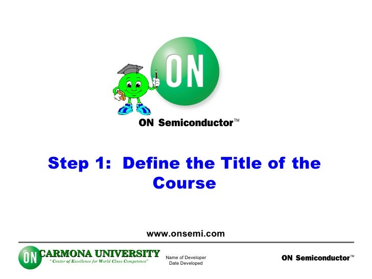Step 1:  Define the Title of the Course