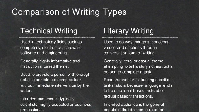 Difference between technical writing and literary writing