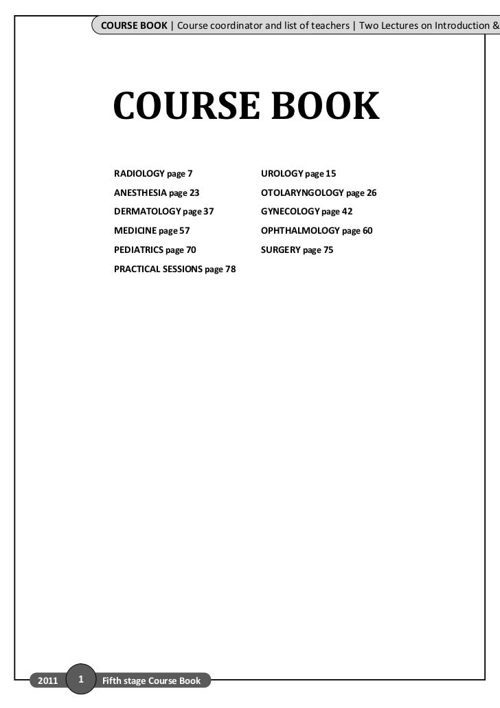 COURSE BOOK | Course coordinator and list of teachers | Two Lectures on Introduction &             COURSE BOOK            ...
