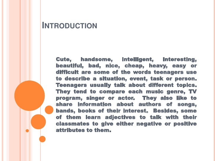 Course content  adjectives