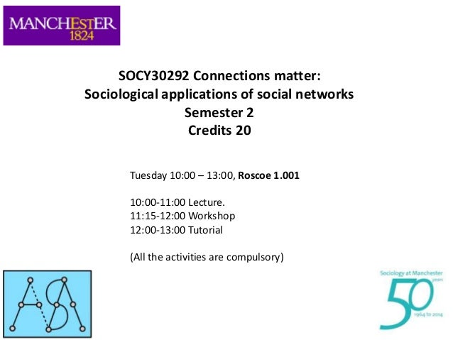 SOCY30292 Connections matter: Sociological applications of social networks Semester 2 Credits 20 Tuesday 10:00 – 13:00, Ro...